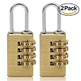 MIONI Solid Brass 2 PCS Combination Lock 4 Copper Digit Padlock for Indoor and Outdoor Rustless Die-Cast