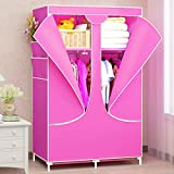 Moon Angle New Wardrobe zipper Non-woven Fabric Steel frame reinforcement Standing Storage Organizer Detachable Clothing Closet furniture (Pink)