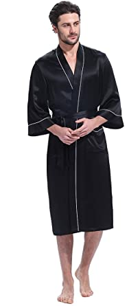 3cca7c13ce LILYSILK Men s Silk Robe Dressing Gown Long with Trim 3 4 Sleeve 22 Momme  Pure