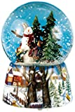 MusicBox Kingdom 46069 Snow Globe Snow Man Music Box Playing ''Leise Ridonkeyst Der ''