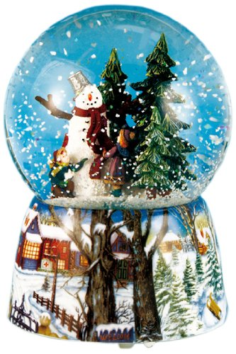 Snowman Snowglobe Christmas Figurine - MusicBox Kingdom 46069 Snow Globe Snow Man Music Box Playing