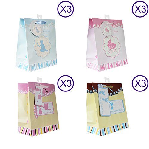 Baby Gift Bags, with glitter, 12 Piece Pack, Medium Photo #6