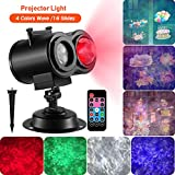 Christmas Projector Lights, 16 Slides 2-in-1 Ocean Wave Projector Remote Control Indoor Outdoor Holiday Lights for Halloween Christmas Home Birthday Partome Birthday Party Garden Landscape Decorations