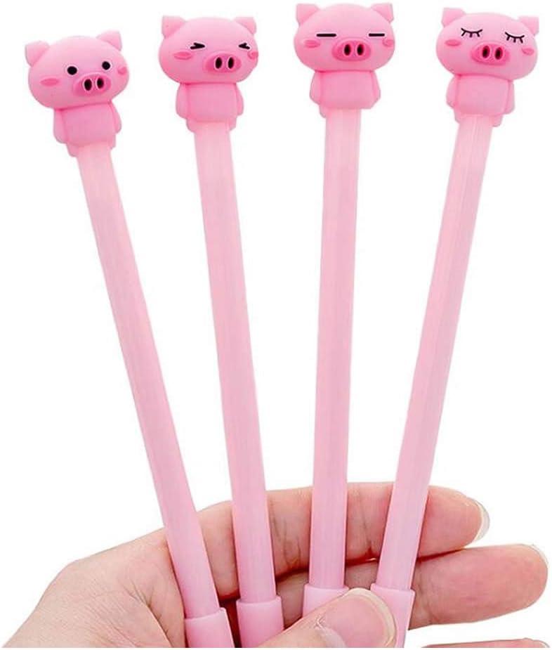 RAYNAG Set of 8 Gel Ink Pen Cute Cartoon Pigs Rollerball Pens Office School Supplies, 0.5mm Black Ink (Random Pattern)