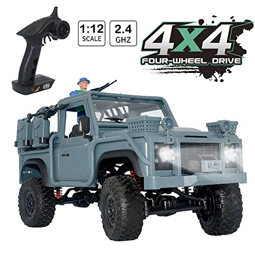 HIBRO RC Car Army Toy 1:12 Scale 2.4GHz Remote Control Military Truck RC Military Jeep Army Armored 4WD 9.5 MPH High Speed Off-Road Car with LED Light RTR,Gift for Kids and Adults