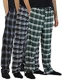 Real Essentials 3 Pack:Men's Cotton Super Soft Flannel Plaid Pajama Pants/Lounge Bottoms,Set 4-L