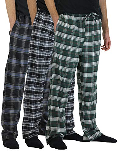 Real Essentials 3 Pack:Men's Cotton Super Soft Flannel Plaid Pajama Pants/Lounge Bottoms,Set 4-L by Real Essentials (Image #1)
