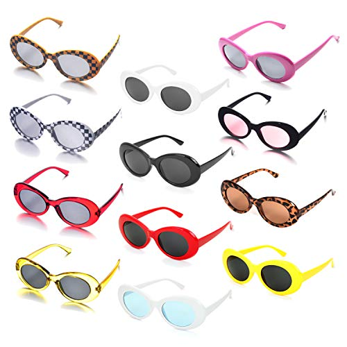 12 Neon Colors Pack Thick Frame Oval Clout Goggles Wholesale Unisex 80's Party Favors Sunglasses Multiple Choice(Oval 12 ()