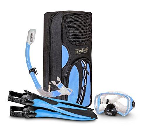 SealBuddy FIJI Panoramic Snorkel set + Premium Travel Gear Bag ( Aqua/Blue, S/M Size 4 to - Composite Mask Snorkeling