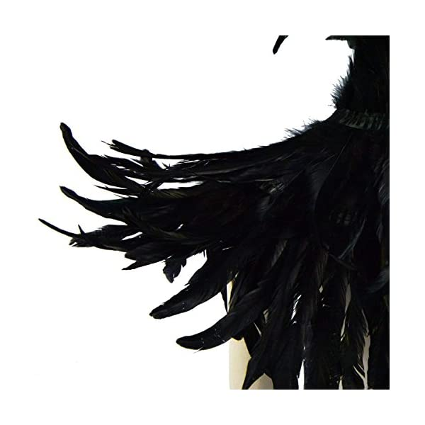 keland Gothic Feather Shrug Shawl Collar Necklace Halloween Costume Epaulettes