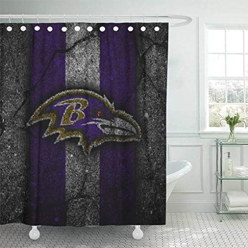 - Ladble Decor Shower Curtain Set with Hooks Baltimore City Ravens Black Stone Football Asphalt Texture 72 X 72 Inches Polyester Waterproof Bathroom