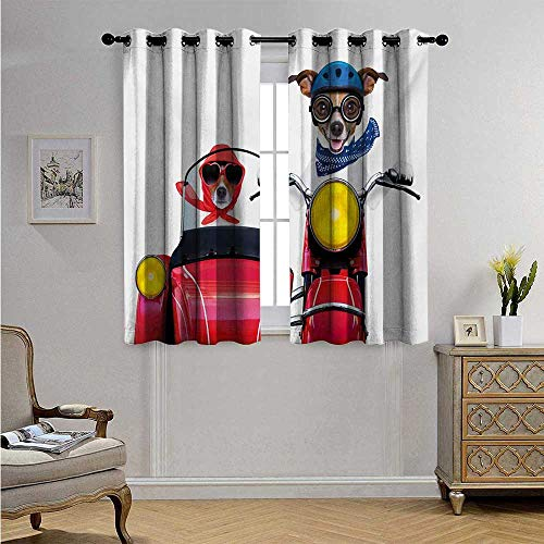 (Dog DriverPatternedDrapeforGlassDoorJack Russell Terriers on a Vintage Motorbike with Helmet and Scarf Funny Design Blackout Drapes W55 x L63(140cm x 160cm) Multicolor)