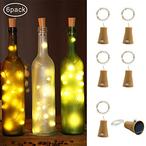 LED Wine Bottle Lights Cork Solar Powered 6 Pack 10 LED Copper Wire Starry String Lights for Wedding Party Table Bedroom DIY Decorations(Warm White) (Low Cost Halloween Decorating Ideas)