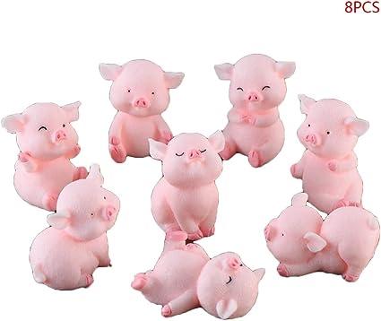 Keepart Lot De 8 Cochons Roses Porte Bonsai Pour Decoration