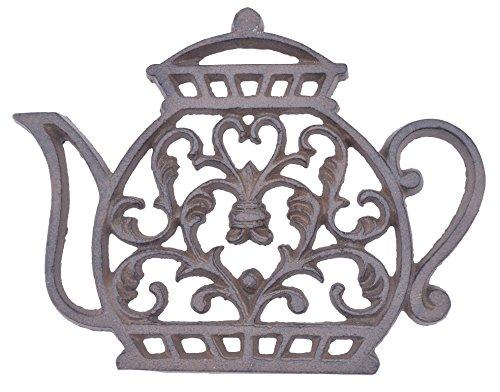 Decorative Cast Iron Trivet Ornate Tea Kettle 7.25
