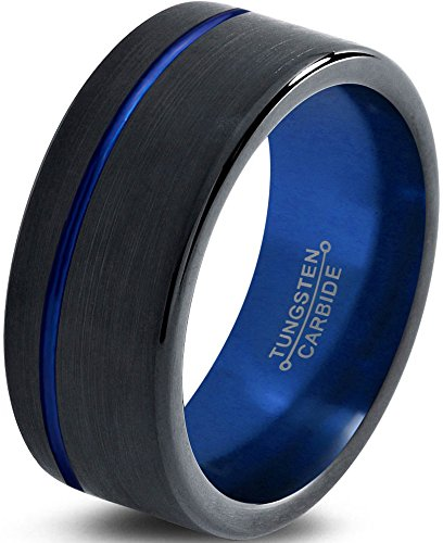 Tungsten Wedding Band Ring 8mm for Men Women Black Blue Off Set Line Pipe Cut Brushed Lifetime Guarantee