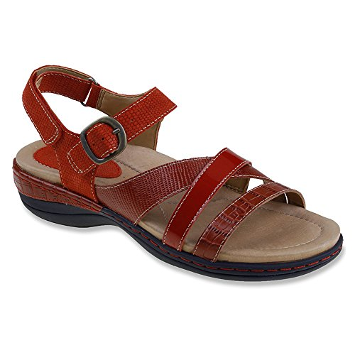 Strap Red Aster Women's Sandal Earth Croco Ankle yWC75xnc