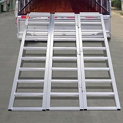 "MD Group 69"" x 44"" Aluminum Tri-Fold Folding Lawn Loading Ramp"