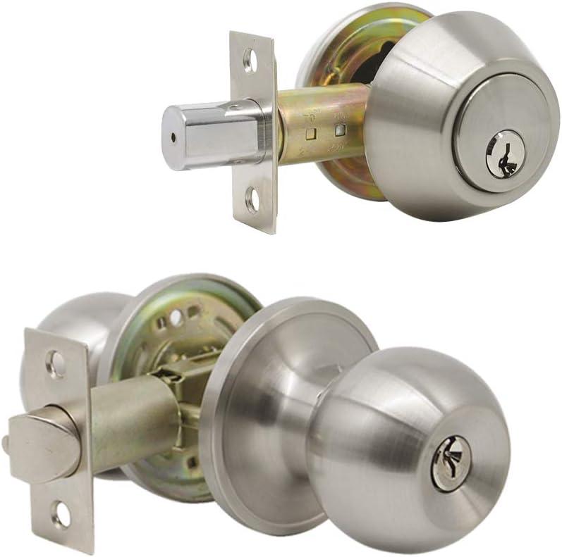 (Set of 1) Combo Entry Entrance Keyed Door Knob Lock Set Door Knobs & Double Cylinder Deadbolt Lock Combo Keyed Entry Set, Satin Nickel Finish Door Hardware & Locks by Probrico