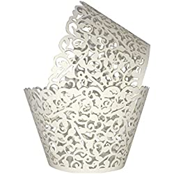 Cupcake Wrappers 100pcs/pack Creamy White Lace Cupcake Liners Laser cut Cupcake Papers cupcake cups Muffin cups for Wedding/Birthday Party Decoration