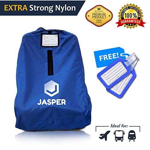 Jasper Car Seat Travel Bag, Measures 18 in x 18 in x 32 in, Waterproof & Germ-Free Gate Check Backpack, Carseat Travel Bag for Flight, Train, Car Travel or Storage (Royal Blue) (Knot Closure Adjustable)