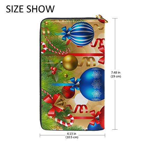 Christmas TIZORAX Zip And Handbags Purses Around Baubles Clutch Wallet Womens Organizer wwx6rP
