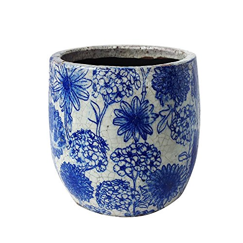 (Newly Designed Old World Vintage Blue and White Floral Pattern Ceramic Garden Pot)