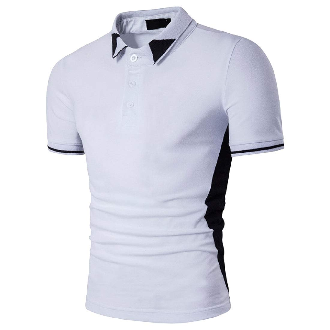Sebaby Mens Short Sleve Hit Color Casual Polo Business Blouse T-Shirt Tops