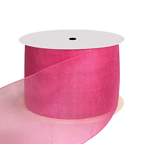 DUOQU 1-1/2 inch Wide Shimmer Sheer Organza Ribbon 25 Yards Azalea