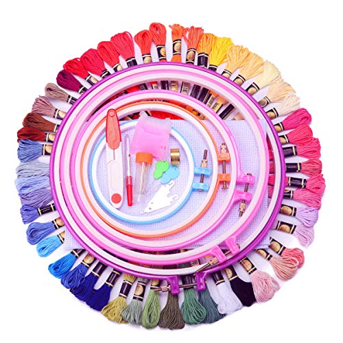 14k Bright Classic Finish - KINGSO Full Range of Embroidery Starter Kit Cross Stitch Tool Kit Including 5 Pcs Plastic Embroidery Hoop, 50 Color Threads, 2pcs 12 by 18 Inch 14Count Classic Reserve Aida and Tool kit