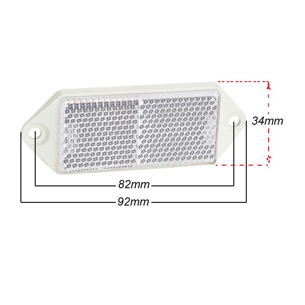 AOHEWEI 12 x Blan R/éflecteurs Remorque Rectangulaire Signalisation S/écurit/é Arri/ère R/éfl/échissante Catadioptre pour Cl/ôture Poteaux Remorque Caravane ECE-approuv/é blan
