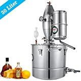 VEVOR 30L 7.9Gal Water Alcohol Distiller 304 Stainless Steel Alcohol Distiller Home Kit Moonshine Wine Making Boiler with Thermometer (30L Distiller)