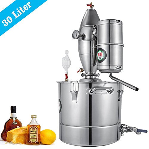 VEVOR 30L 7.9Gal Water Alcohol Distiller 304 Stainless Steel Alcohol Distiller Home Kit Moonshine Wine Making Boiler with Thermometer (30L Distiller) by VEVOR