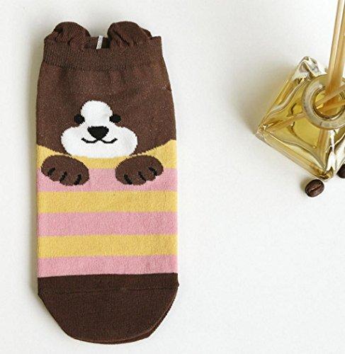 Sagton Women Cartoon Modello Animali Calze A Righe In Cotone Caviglia Crew Socks C