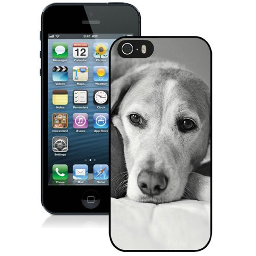 Coque,Fashion Coque iphone 5S Noir And blanc Dog Noir Screen Cover Case Cover Fashion and Hot Sale Design