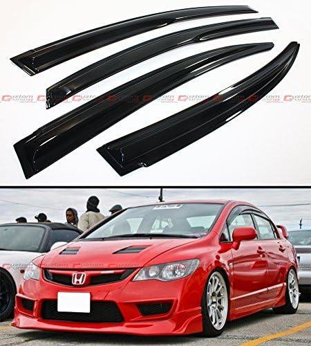 Mu-gen Style Side Window Visors Fits 06-11 Honda Civic 4dr