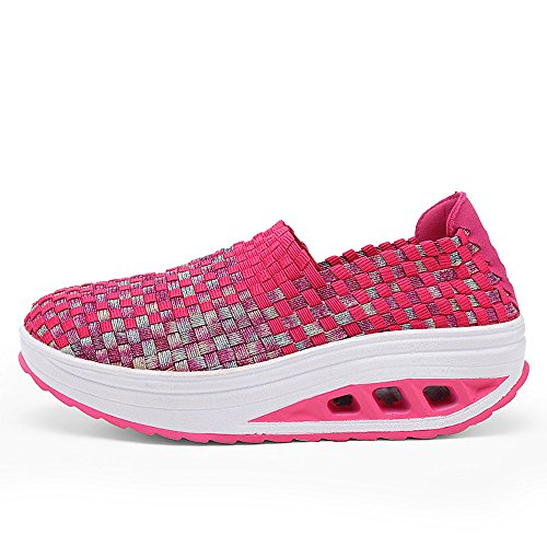 Enllerviid Mujeres Multicolor Braid Fashion Sneakers Casual Slip-on Plataforma Armadura Zapatos 1598 Rose