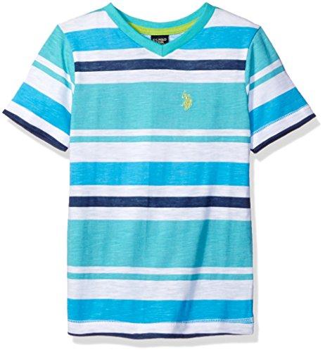 (U.S. Polo Assn. Boys' Little Short Sleeve Striped V-Neck T-Shirt, Malibu Blue H5HA42MUV, 5/6)