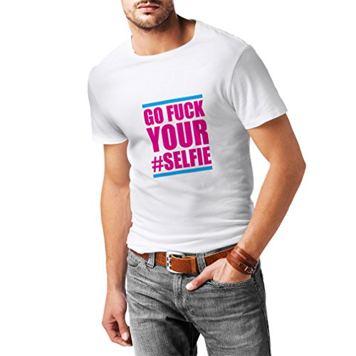 T Shirts For Men Go F.k Your #Selfie Funny Slogan, Humorous Cool Quotes (X-Large White - Cat K Kim