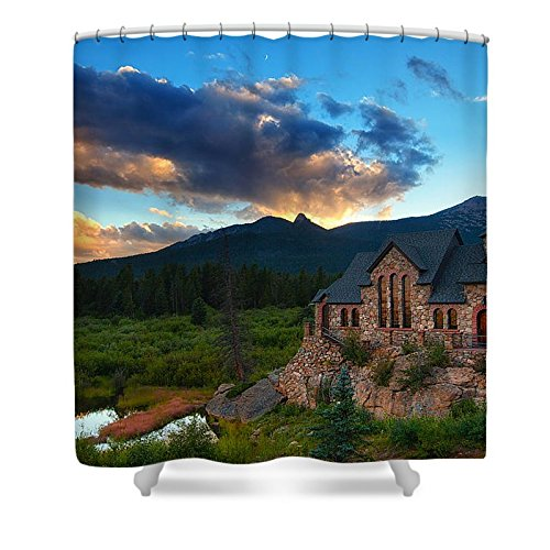 Pixels Shower Curtain (74'' x 71'') ''Rocky Mountain Stone Church'' by Pixels