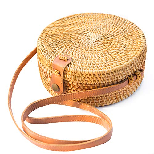 (Handwoven Round Rattan Bag Shoulder Leather Straps Natural Chic Hand NATURALNEO)