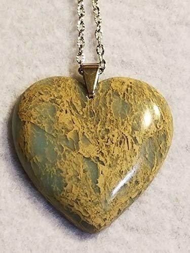 Snake Skin Jasper Pendant Bead Blue tan Heart US-160 ()
