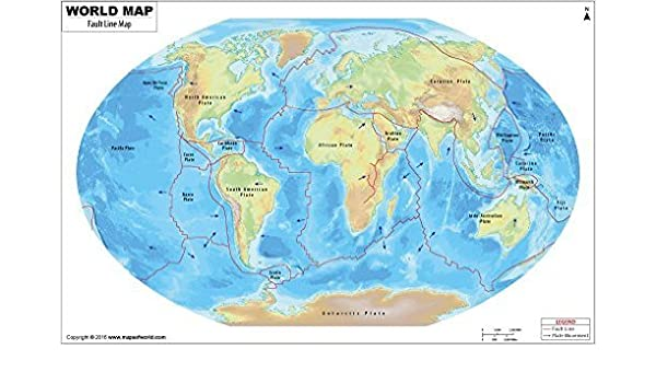 World Map Of Fault Lines.Amazon Com World Map Of Fault Lines 36 W X 23 08 H Office