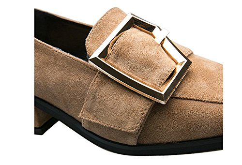 New square head with a single shoes female metal buckle pearl low heels Camel Ikfll4OTkt