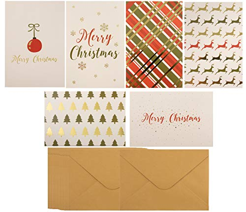 - 48-Pack Merry Christmas Holiday Greeting Card - Happy Holidays Xmas Cards in 6 Gold Foil Designs, Bulk Assorted Festive Winter Holiday Cards with Envelopes, 4 x 6 Inches