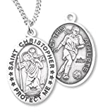 Heartland Women's Sterling Silver Saint Christopher Soccer Pendant + USA Made + Chain Choice