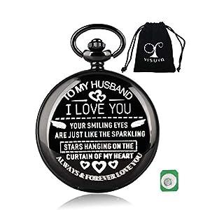 YISUYA Relojes de Bolsillo Grabados con Bolsa de Tela para el Marido, Regalos de cumpleaños para Hombre
