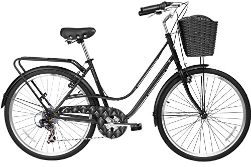 Gama Bikes City Avenue 26 – Women's Cruiser Bike - Step-Through Comfort Frame, 6 Speed Shimano -  Hybrid Urban Commuter Road Bicycle - Great for Beach Cruising, Exercising and All Around Fun – Black by Gama Bikes