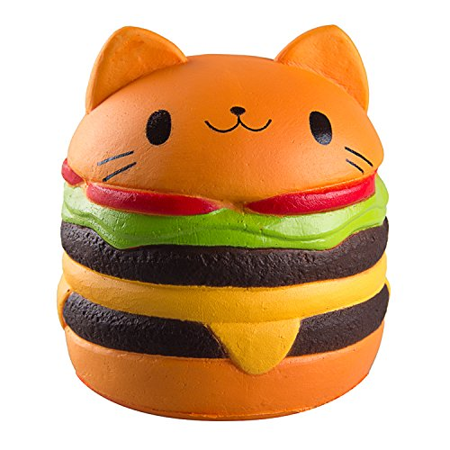 WATINC Kawaii 1 pcs Jumbo Food Squishise Cat Hamburgers Cream Scented Slow Rising Squishies Charms, Kid Toy, Lovely Toy Stress Relief Toy, Decorations Toy Large (Hamburgers (Jumbo Cat)