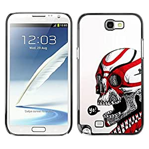 MobileHut / Samsung Note 2 N7100 / Yo Black Red Skull White Biker Gang / Delgado Negro Plástico caso cubierta Shell Armor Funda Case Cover